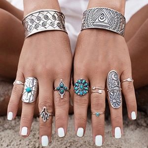 ⭐2 FOR $20⭐SET OF 9 BOHO  SILVER/ TURQUOISE RINGS